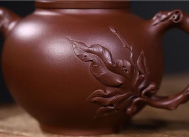 史宗娟紫砂壶作品 原矿紫泥圆满壶500CC手制正品价位