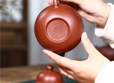 史宗娟紫砂壶作品 梨皮朱泥掇球壶380CC全手工正品价位