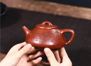 范君浩紫砂壶作品|原矿朱泥子冶石瓢壶320CC手工正品价位