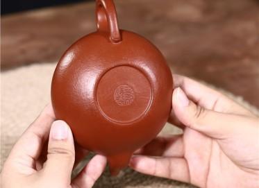 史宗娟紫砂壶作品|梨皮朱泥扁樱壶220CC纯手工真品价格表