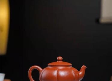陈小明紫砂壶作品|原矿朱泥筋纹宫灯壶200CC纯手工正品价位