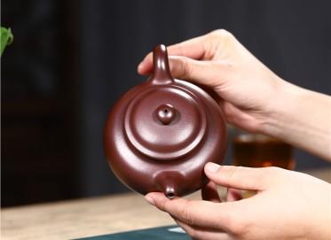 史宗娟紫砂壶作品|石红料掇只壶300CC纯手工正品怎么样