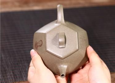 徐勤紫砂壶作品 原矿青段泥六方纳瓢壶230CC手制正品价格表
