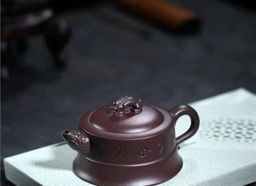 许华芳紫砂壶作品|原矿紫泥玉龙壶330CC手工正品价格
