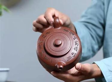 陈亚萍紫砂壶作品|沉香泥周盘壶280CC手制真品价格表