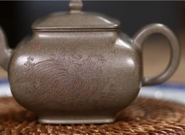 史宗娟紫砂壶作品|原矿青段泥如鱼得水壶180CC手工真品价格表