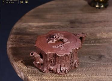 徐勤紫砂壶作品 玉砂紫泥松桩壶600CC手工正品怎么样