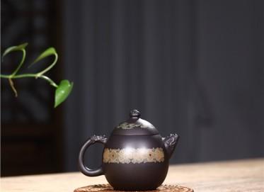 范君浩紫砂壶作品 黑料龙蛋壶300CC全手工真品价格