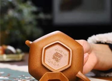郭余华紫砂壶作品 蟹黄段泥六方合欢壶200CC纯手工正品价格