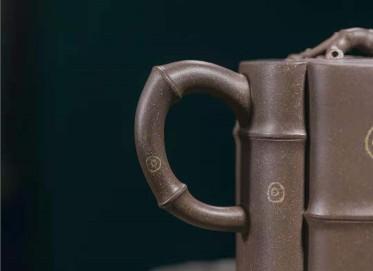 牟锦芬紫砂壶作品 原矿青灰泥斑竹壶420CC全手工正品价位