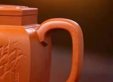 李霓紫砂壶作品 原矿红泥六方宫灯壶200CC手工真品价值