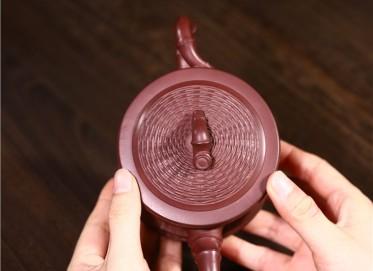 韩洪波紫砂壶作品 原矿底槽清竹编竹段壶320CC纯手工正品价格