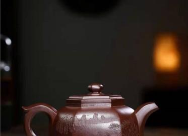 高俊紫砂壶作品|原矿紫泥六方碗莲壶440CC纯手工正品价格表