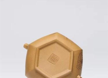 杨慧英紫砂壶作品|原矿黄金段泥六方仿古壶250CC手制正品价位