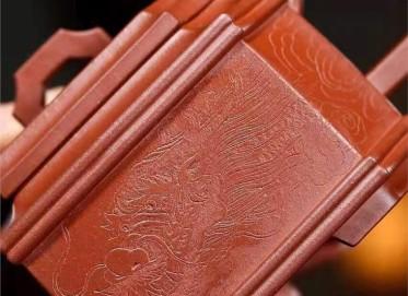 高俊紫砂壶作品|原矿底槽清殿方宫灯壶470CC纯手工正品价位