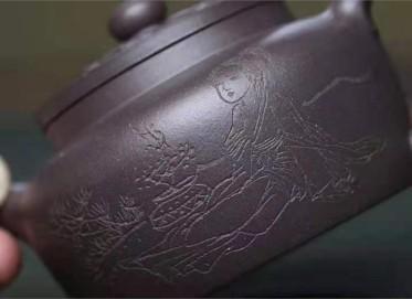 李霓紫砂壶作品|葡萄紫泥菱花壶200CC手工正品多少钱
