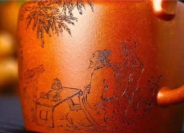 储国峰紫砂壶作品|原矿黄金段泥孔子讲学壶580CC纯手工正品价格