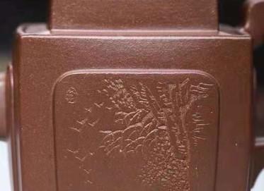 李霓紫砂壶作品|原矿底槽清四方凸魁壶220CC手工真品价格表