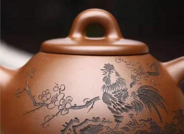刘政紫砂壶作品|羊脂泥子冶石瓢壶320CC全手工真品价值