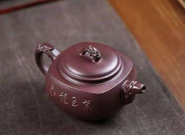 钱海霞紫砂壶作品|原矿紫泥紫玉龙泉壶300CC手工正品价格