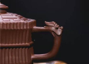 牟锦芬紫砂壶作品 原矿紫泥龙头一捆竹壶340CC手制真品价格