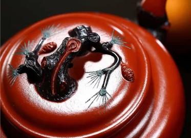 邹旭敏紫砂壶作品|原矿大红袍松针壶300CC手工正品价位