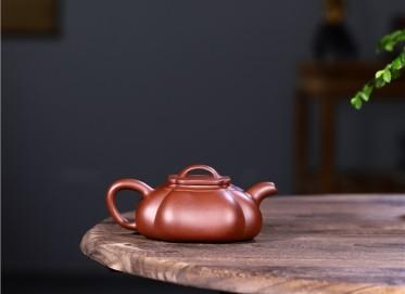 徐永君紫砂壶作品 原矿底槽清筋纹纳瓢壶320CC纯手工真品价格