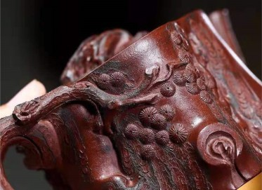 高俊紫砂壶作品|原矿底槽清松椿壶330CC全手工真品价格