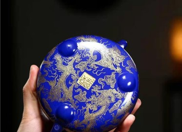 秦国萍紫砂壶作品 玉石白段景舟石瓢壶330CC全手工正品价位