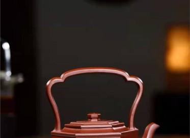 高俊紫砂壶作品|原矿底槽清六方矮提梁壶280CC全手工真品价格表