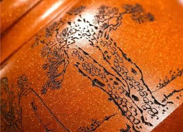 储国峰紫砂壶作品|原矿黄金段泥三人行必有我师壶600CC手制真品价格