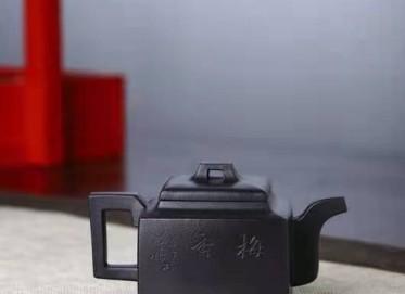 李霓紫砂壶作品|原矿底槽清亚明四方壶200CC手工正品价格表