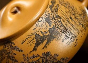 储国峰紫砂壶作品 原矿黄金段泥石瓢壶360CC手工真品价格表