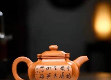 储国峰紫砂壶作品|原矿黄金段泥抽角仿古壶400CC手制正品价位