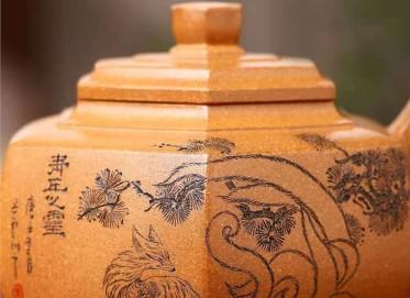 王玉芳紫砂壶作品|蟹黄段泥六方雪华壶320CC全手工正品怎么样