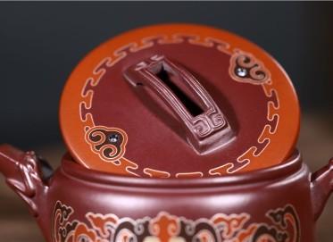 范君浩紫砂壶作品|紫茄泥龙头汉瓦壶250CC纯手工正品价格