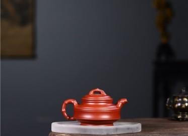 范君浩紫砂壶作品|原矿大红袍双线竹鼓壶290CC手工正品价值