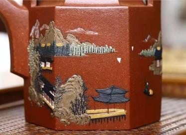 刘莹紫砂壶作品|原矿降坡泥六方洋桶壶350CC全手工正品价位