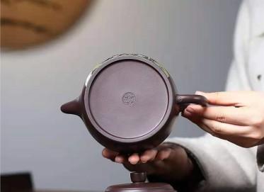 朱新南紫砂壶作品 原矿紫泥福禄德钟壶500CC手工正品价位