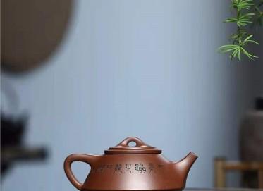 王建南紫砂壶作品|羊脂泥隐瓢壶240CC纯手工真品价值