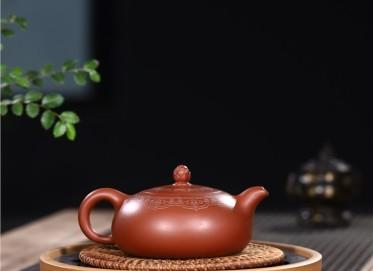 范君浩紫砂壶作品|原矿大红袍梵莲扁乳壶300CC纯手工真品价位