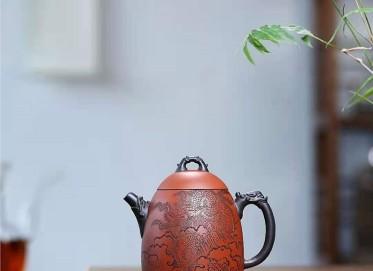 朱新南紫砂壶作品 原矿清水泥龙泉壶300CC全手工正品价值