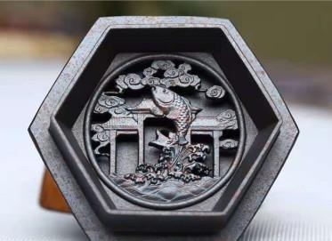 刘莹紫砂壶作品 紫茄泥六方虚扁壶300CC纯手工正品价格表