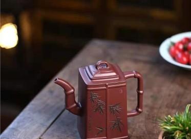 朱新南紫砂壶作品|原矿紫泥高风亮节壶450CC手制正品价格表