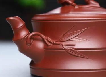 刘莹紫砂壶作品|原矿龙血砂竹段套组壶320CC纯手工正品行情