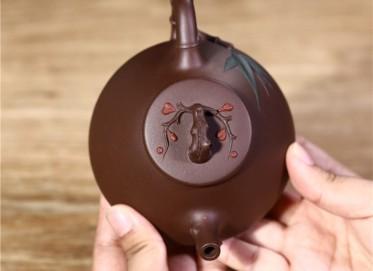 韩洪波紫砂壶作品|原矿紫泥梅竹双馨壶250CC全手工正品价格