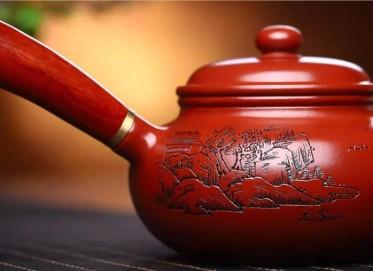鲍明亚紫砂壶作品|原矿大红袍仿古唐羽壶260CC手制正品价格表