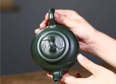 韩洪波紫砂壶作品 民国绿泥笑樱竹节壶350CC全手工真品价格表