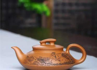 刘莹紫砂壶作品|蟹黄段泥一帆风顺壶380CC纯手工真品行情