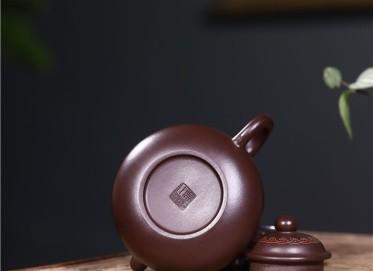 吴小楣紫砂壶作品|原矿紫泥容天壶250CC纯手工正品价值